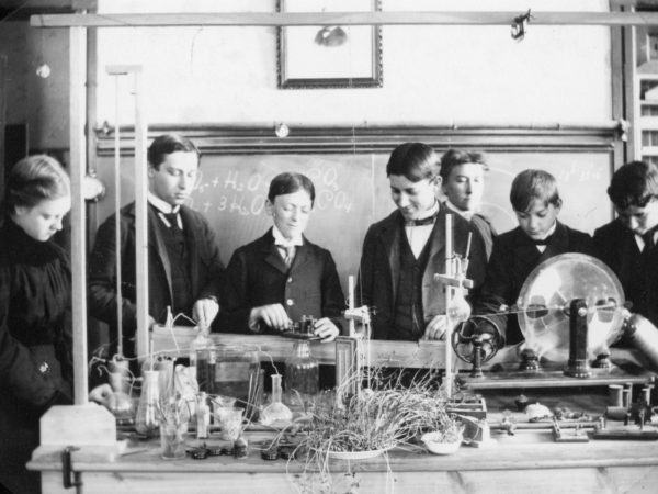 Students at a physics class at Glens Falls School