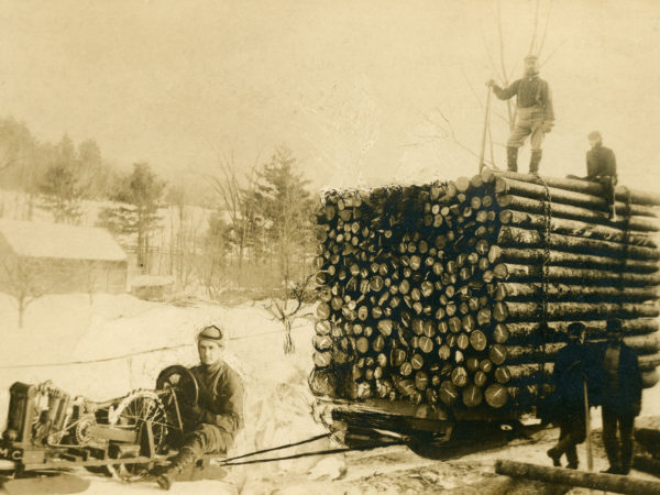 : Pulling a load of logs with a mechanical sled in Elizabethtown