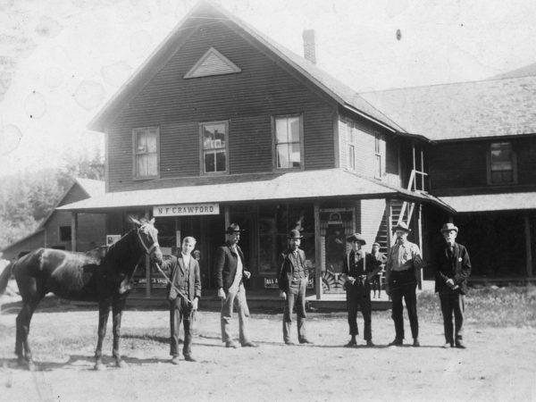 Outside Crawford's store in Keene Valley