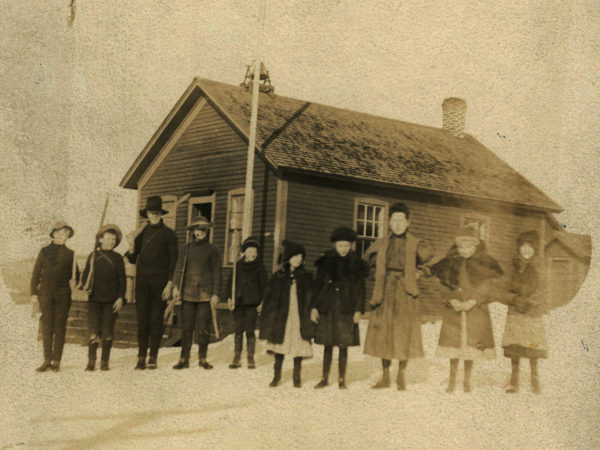 The class of 1906 in front of the Keene Valley School
