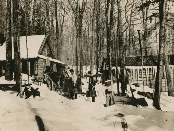 Sugaring at a maple sugar camp in Keene Valley