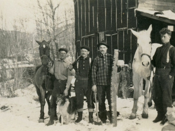 Four man crew with horses at Lumber Camp III in Keene Valley