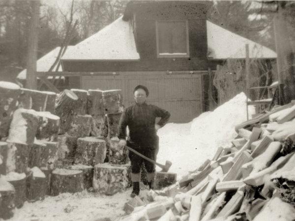 Jim Stone splitting wood in Keene Valley