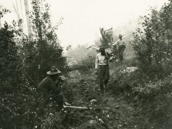Soldiers digging a trench on Noonmark in Keene Valley