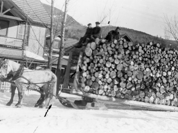 The Crawfords hauling a load of pulpwood in Keene Valley