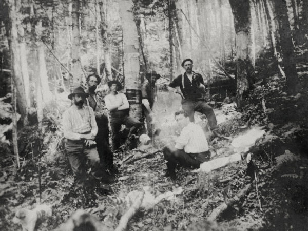 Seven men at a lumber camp in Keene Valley