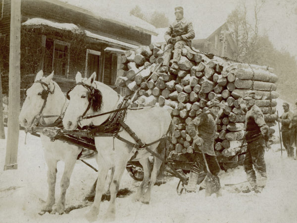 A snowy winter log haul in Keene Valley