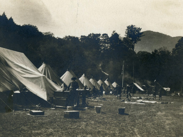 A soldiers' encampment at Giant Trail in Keene Valley