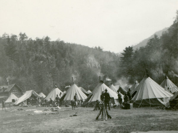 Soldiers' commissary tents at Giant Trail in Keene Valley