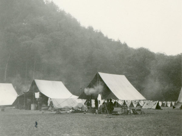 U.S. Army camp at the foot of Giant Trail in Keene Valley
