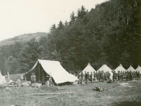 Camp and soldiers at Giant Trail in Keene Valley