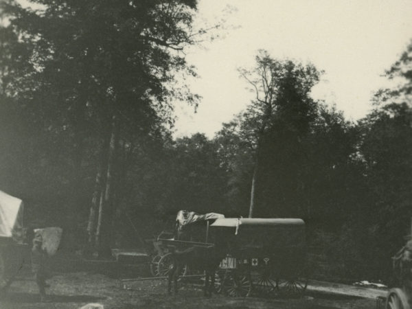 A horse-drawn ambulance at the firefighting camp in Keene Valley