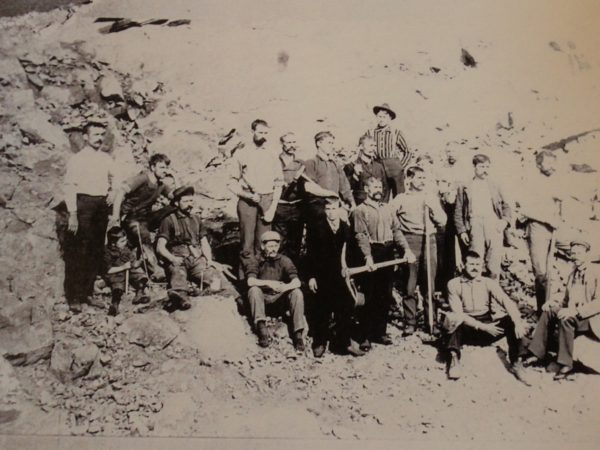 Miners at Hoopers Mine in Johnsburg on break