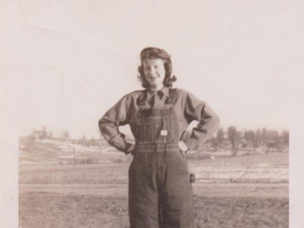 Esther Thompson on the farm in Flackville
