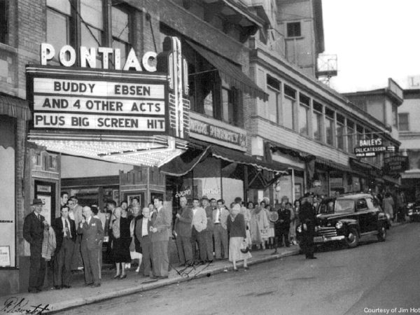 A line outside the Pontiac Theater in Saranac Lake