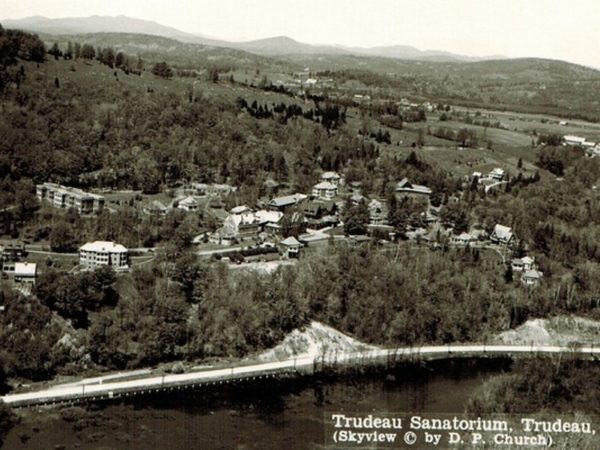 An aerial view of the Trudeau Sanatorium in Saranac Lake