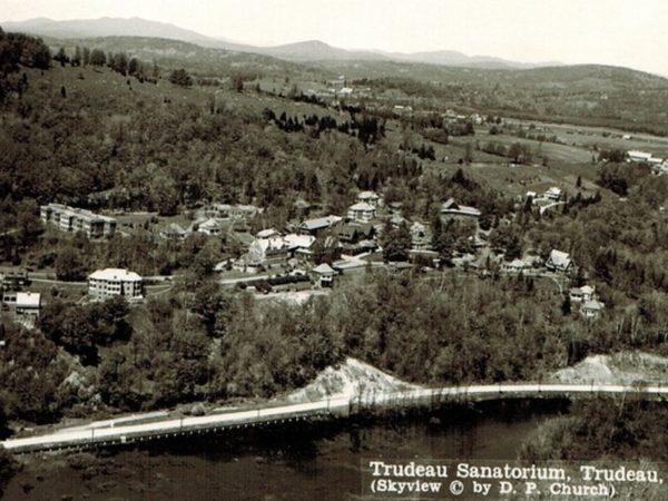 An aerial view of the Trudeau Sanatorium in Saranac Lake