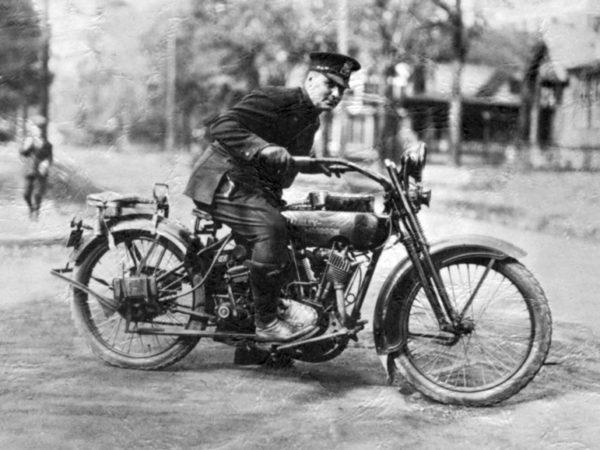 Police officer on a Harley-Davidson in Saranac Lake