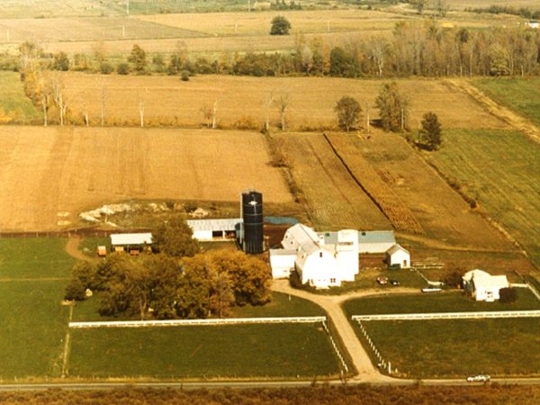 Aerial view of the Thompson farm in Lisbon