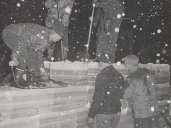 Constructing the Ice Palace in Saranac Lake