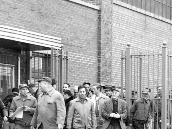 Employees leaving the New York Air Brake Company factory in Watertown