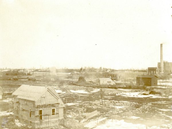 Aerial view of the St. Regis Paper Company mill in Deferiet