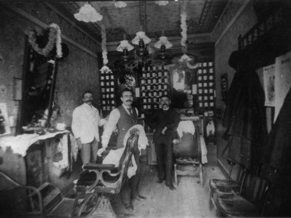Interior of a barbershop in Watertown