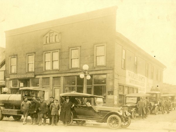 Outside the Ward P. Smith Auto Supply and Studebaker Dealer in Watertown