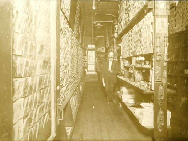 Inside a stationery and notions store in Watertown