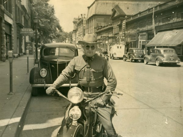 State trooper Bob Gaffney on a motorcycle in Watertown