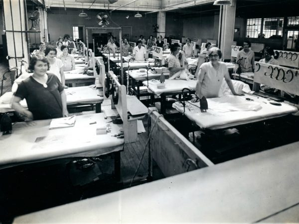 Women inside the Geo Sweetser & Son Shirt Factory in Watertown