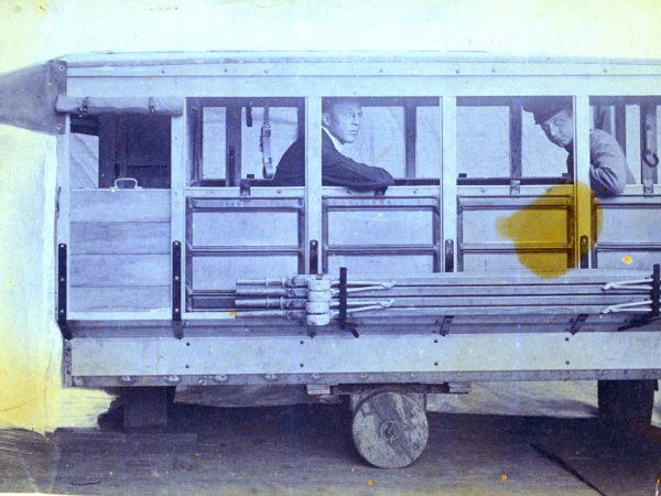 Men in a World War I ambulance in Watertown