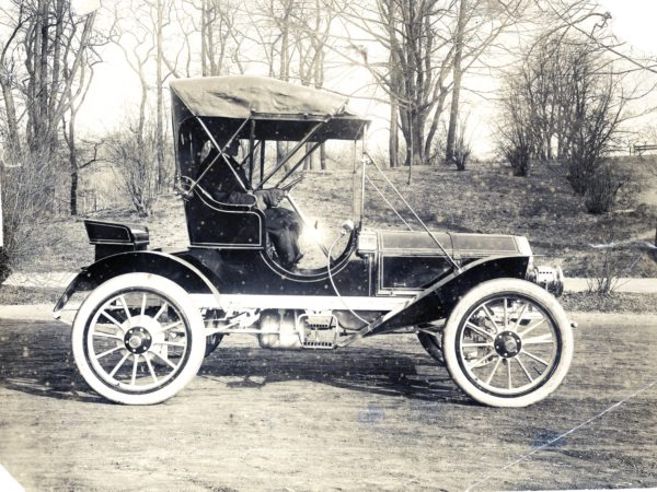 Driving a Babcock Carriage Company automobile in Watertown