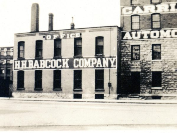 The front of the H.H. Babcock Carriage Company in Watertown