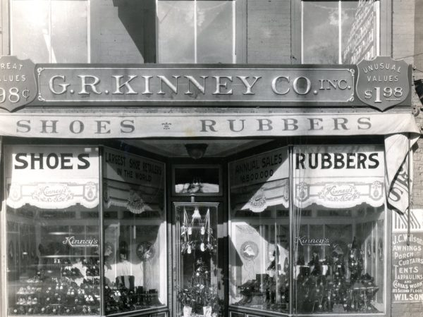 Storefront of G.R. Kinney Company Shoes in Watertown
