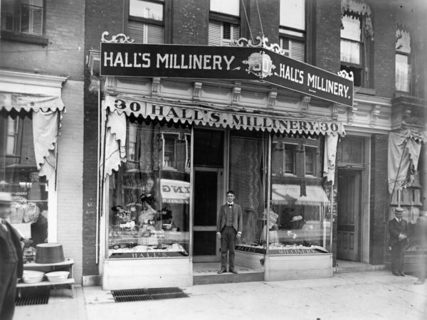 The storefront of Hall's Millinery in Watertown