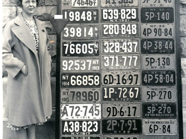 Director of the Automotive Bureau with license plates in Watertown