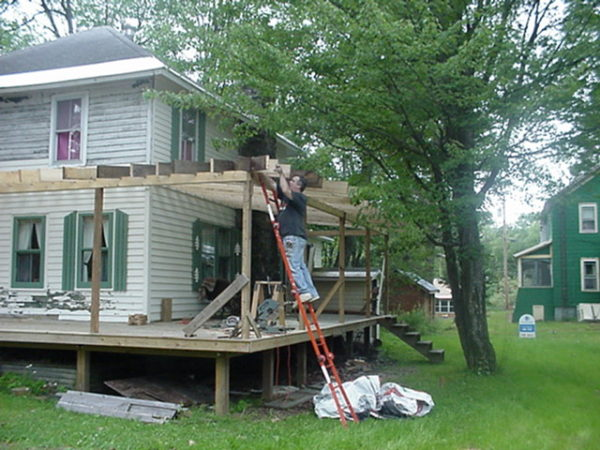 Rebuilding a porch in Wanakena