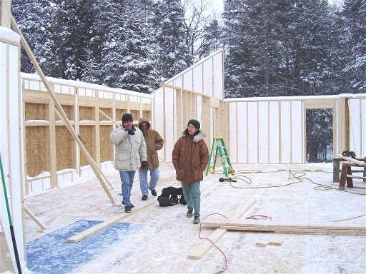 Winter construction on the Pack Basket Lodge in Wanakena