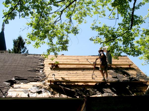 Renovating the roof of the Wanakena Presbyterian Church