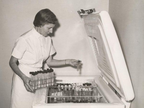 Refrigerating test tubes at Ray Brook Sanatorium in Saranac Lake