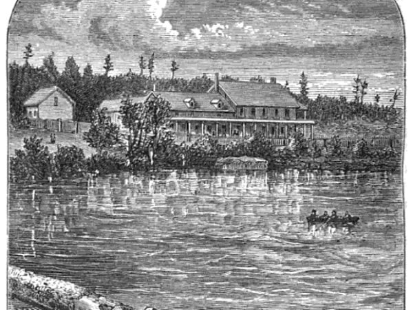 Drawing of Bartlett's Hotel in Saranac Lake