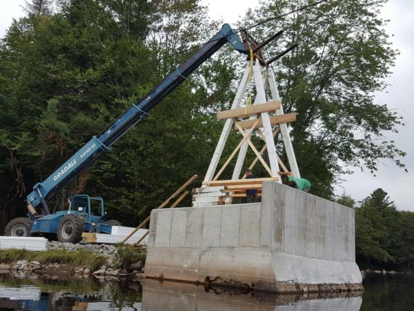Setting the towers for the new Wanakena footbridge