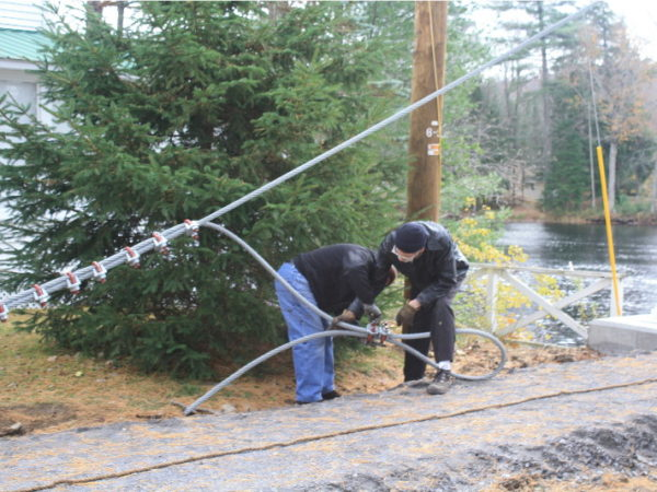 Stringing the cable for the Wanakena footbridge