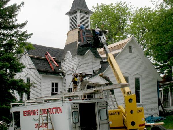 Reshingling the roof and steeple of the Wanakena Presbyterian Church