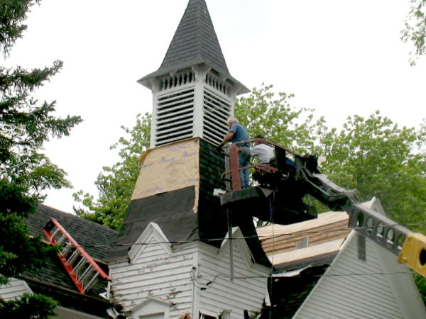 Reshingling the steeple of the Wanakena Presbyterian Church