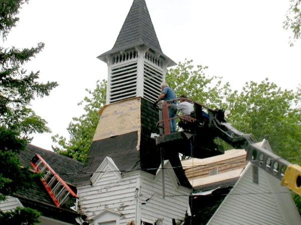 Reshingling the steeple of the Wanakena Presbyterian Church