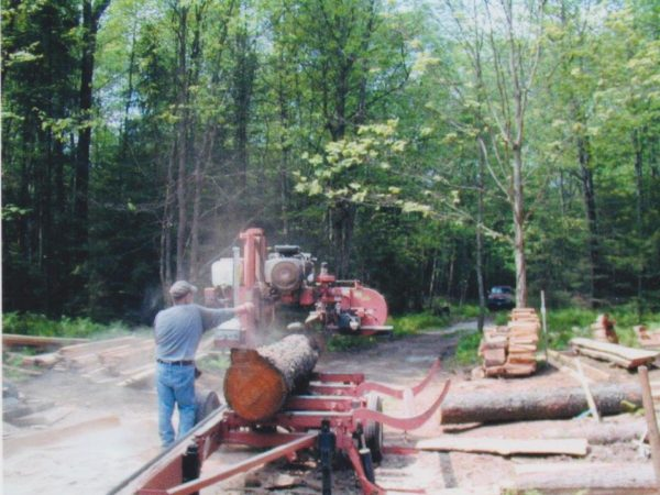 Lumbering with a portable sawmill in Colton