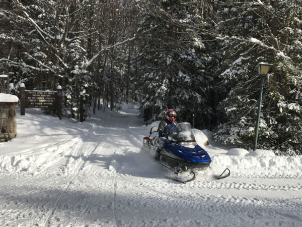 Grooming the trails on Catamount Lodge and Forest in Colton