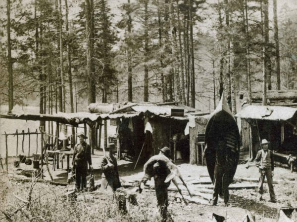 Early guides' camp on Tupper Lake